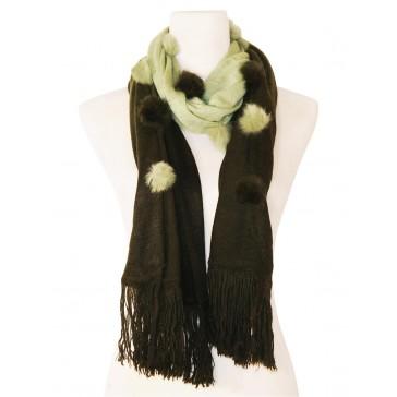 Eleganter Schal - zweifarbig mit Kunstfell Bommeln - Grün - Dunkel Grün