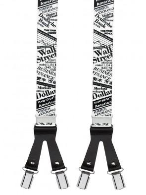 Hosenträger in Wall Street Design mit Lederriemen und 6 Clips