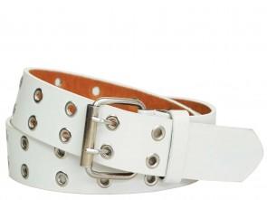 Nietengürtel mit Metall Ösen 2 Reihe Weiß