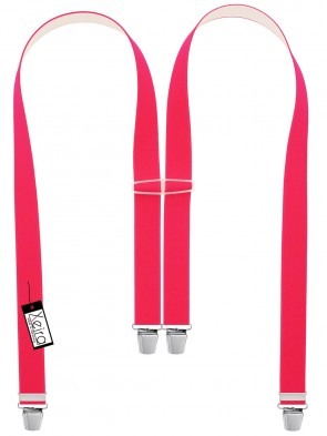 Hosenträger in Neon Pink Blau Design mit 4 Extra Starken XL Clips