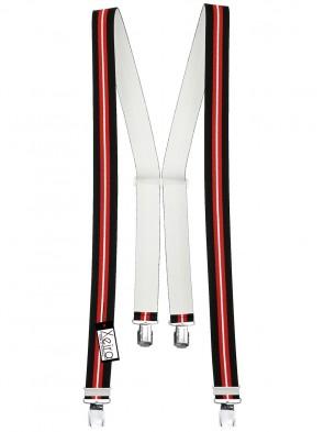 Hosenträger in Schwarz / Weiß / Rot  / Blau Gestreift mit 4 Extra Starken XL Clips