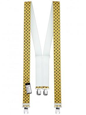 Hosenträger in Vintage Gelb mit 4 Extra Starken XL Clips