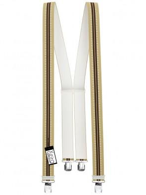 Hosenträger in Beige / Braun Gestreiften Design mit 4 Extra Starken XL Clips