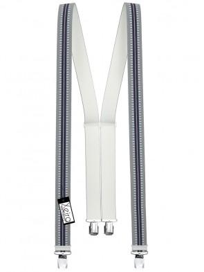 Hosenträger in Grau / Dunkel Blau Gestreiften Design mit 4 Extra Starken XL Clips