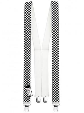 Hosenträger in Schwarz / Weiß Kariert Design mit 4 Extra Starken XL Clips