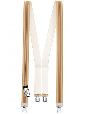 Hosenträger in Blau / Dunkelblaue & Beige Braune Streifen Design mit 4 Extra Starken XL Clips