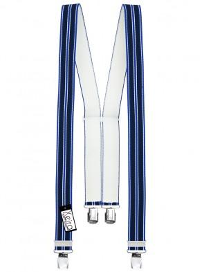 Hosenträger in Blau / Rot / Grün Gestreiften Design mit 4 Extra Starken XL Clips