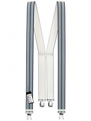 Hosenträger in Beige / Braun / Olive / Grau  Gestreiften Design mit 4 Extra Starken XL Clips