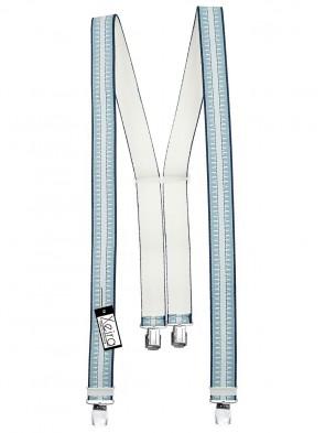 Hosenträger in Dunkel Blau / Blau Gestreiften Design mit 4 Extra Starken XL Clips