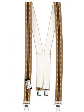 Hosenträger in Braun Gestreiften Design mit 4 Extra Starken XL Clips