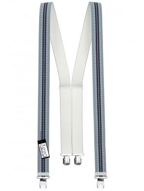 Hosenträger in Blau / Dunkelblau Gestreiften Design mit 4 Extra Starken XL Clips