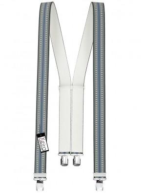 Hosenträger in Grau / Blau & Braun Gestreiften Design mit 4 Extra Starken XL Clips