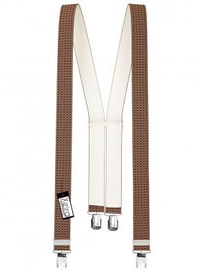 Hosenträger in Braun / Bordeaux / Weiße Punkte Gestreiften Design mit 4 Extra Starken XL Clips