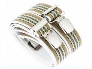 Hosenträger in Weiß / Beige / Grünen Streifen Design mit 4 Extra Starken XL Clips