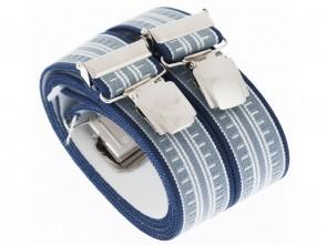 Hosenträger in Braune Blaue Streifen Design mit 4 Extra Starken XL Clips