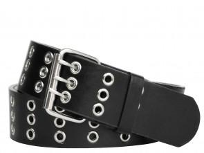 3 Reihe Schwarz Metall Ösen Nietengürtel