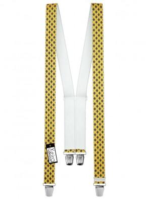 Hosenträger in Vintage Grau Design mit 4 Extra Starken XL Clips