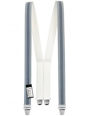 Hosenträger in Blau / Dunkel Blau & Braun Gestreiften Design mit 4 Extra Starken XL Clips