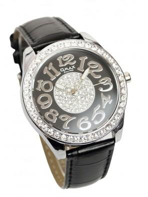 Omax Damen Uhr Analog Schwarz Silber mit Strass - Extra Breit