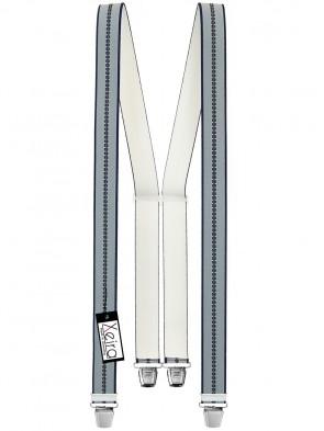 Hosenträger in Blau / Grau Gestreiften Design mit 4 Extra Starken XL Clips