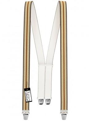 Hosenträger in Braun / Beige Gestreiften Design mit 4 Extra Starken XL Clips