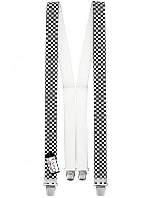 Hosenträger in Schwarz / Weiß Karierten Design mit 4 Extra Starken XL Clips