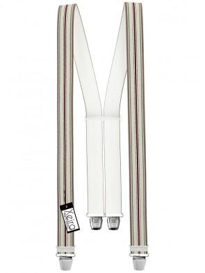Hosenträger in Braun / Grau / Bordeaux Gestreiften Design mit 4 Extra Starken XL Clips