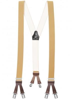 Hochwertige Hosenträger in Uni Faben mit Lederriemen und 6 Clips - Verfügbar in XXXL Länge