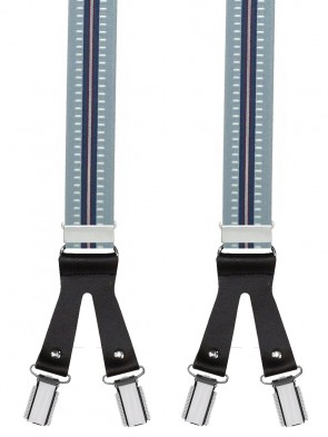 Hosenträger in Trendige Blau /  Dunkel Blauen Design mit Schwarzen Lederriemen und 6 Clips