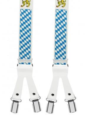 Hosenträger BAYERN Design mit Lederriemen und 6 Clips