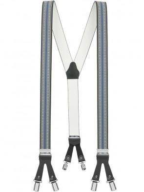 Hosenträger in Grau / Blauen Design mit Lederriemen und 6 Clips