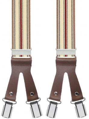 Hochwertige Hosenträger in Trendigen Grau / Braun / Rot Gestreift Design mit Braunen Lederriemen und 6 Clips