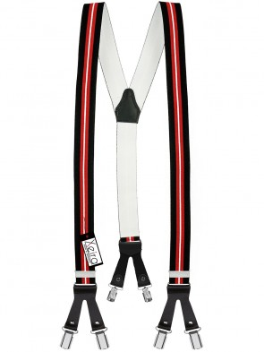 Hosenträger von Xeira® in Trendigen Schwarz - Blau & Rot - Weiß Design mit Lederriemen und 6 Clips