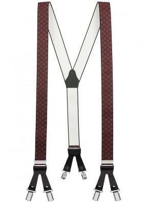 Hosenträger in Vintage Design mit Lederriemen und 6 Clips