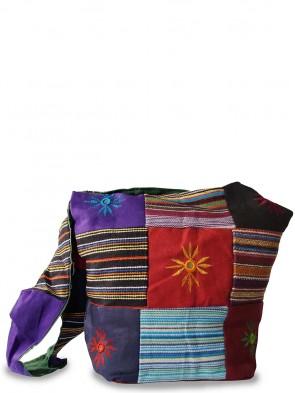 Trendige Ethno Hippie Yogi Stofftasche - Flower Patchwork Design