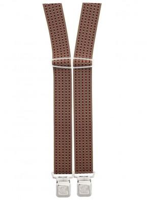 Xeira® - Hosenträger in Trendigen Braun / Bordeaux Punkte & Gestreiften Design mit 4 Extra Starken XL Adler Clips