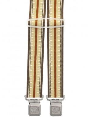 Xeira® - Hosenträger in Trendigen  Braun/Beige Olive Gestreift mit 4 Extra Starken XL Adler Clips