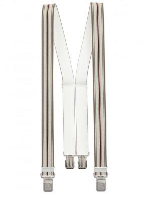 Xeira® - Hosenträger in Trendigen  Grau/Braun Bordeaux Gestreift mit 4 Extra Starken XL Adler Clips