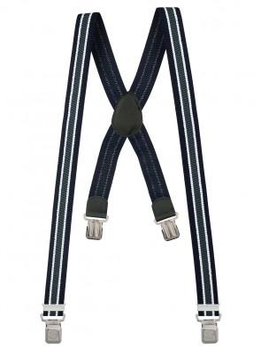 Hosenträger X-Design in Gestreiften Farben mit 4 XL Alder Clips - BLAU - WEISS