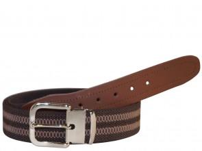 Hochwertiger Elastik- Stoffgürtel Braun Gestreift mit Leder Endstück - Bundweite bis 160