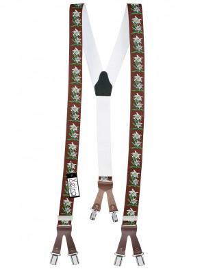 Hochwertige Hosenträger in Trendigen Edelweiß Design mit Lederriemen und 6 Clips