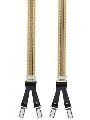 Hochwertige Hosenträger in Trendigen Beige / Schwarz Gestreift mit Lederriemen und 6 Clips