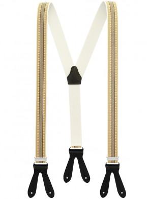Hochwertige Hosenträger in Beige - Schwarze Streifen Design mit Schwarzen Lederriemen