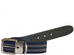 Hochwertiger Elastik- Stoffgürtel Blau / Grau Gestreift mit Schwarzen Leder Endstück - Bundweite bis 160 verfügbar