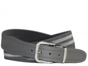 Hochwertiger Elastik- Stoffgürtel Grau / Grau Gestreift mit Grauen Leder Endstück- Bundweite bis 160