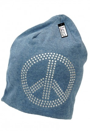 Beanie in trendigen Peace Design-Blau