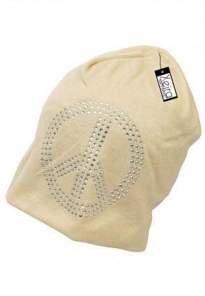 Beanie in trendigen Peace Design-Beige
