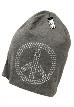 Beanie in trendigen Peace Design-Dunkel Grau