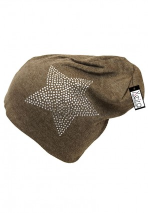 Beanie in Trendigen Star Design-Braun
