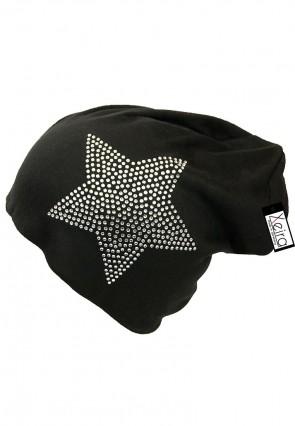 Beanie in Trendigen Star Design-Schwarz